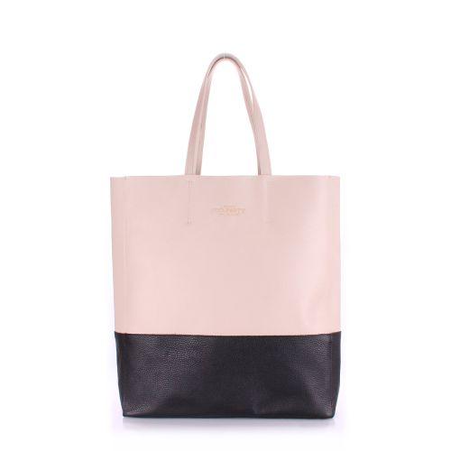 Женская кожаная сумка poolparty-city-beige-black черная с бежевым