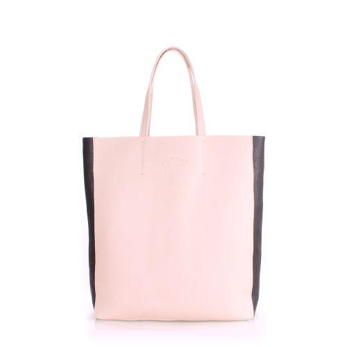 Женская кожаная сумка poolparty-city2-beige-black черная с бежевым