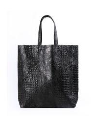 Женская кожаная сумка leather-city-croco-black черная