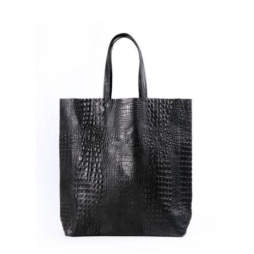 Женская кожаная сумка poolparty-leather-city-croco-black черная