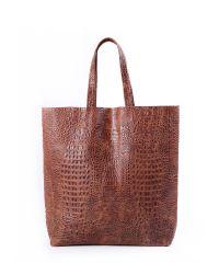 Женская кожаная сумка leather-city-croco-brown коричневая
