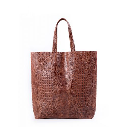 Женская кожаная сумка poolparty-leather-city-croco-brown коричневая