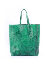Женская кожаная сумка leather-city-croco-green зеленая