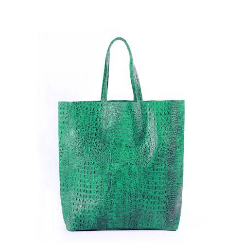 Женская кожаная сумка poolparty-leather-city-croco-green зеленая
