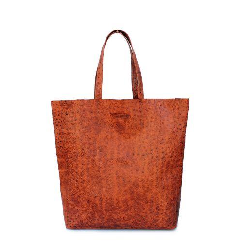 Женская кожаная сумка Poolparty City Leather City Bag Ostrich рыжая