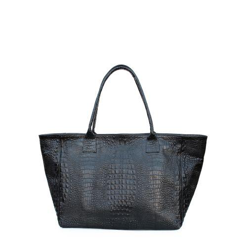 Женская кожаная сумка poolparty-desire-croco-black черная