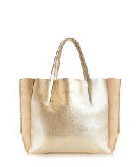 Женская кожаная сумка poolparty-soho-gold-beige золотая