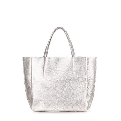 Женская кожаная сумка Poolparty soho-silver серебро