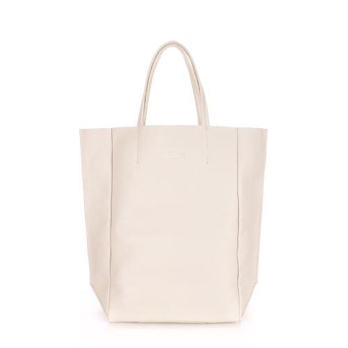 Женская кожаная сумка Poolparty bigsoho-cream молочная