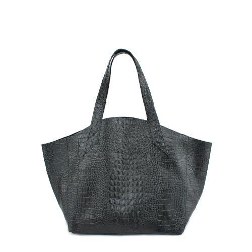 Женская кожаная сумка poolparty-fiore-crocodile-black черная