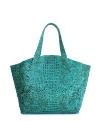 Женская кожаная сумка poolparty-fiore-crocodile-green зеленая
