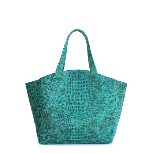 Женская кожаная сумка Poolparty fiore-crocodile-green зеленая