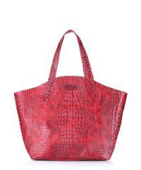 Женская кожаная сумка poolparty-fiore-crocodile-red красная