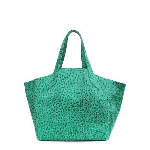 Женская кожаная сумка Poolparty fiore-struzzo-green зеленая