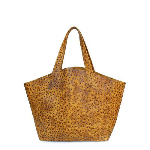 Женская кожаная сумка Poolparty fiore-mustard-struzzo коричневая