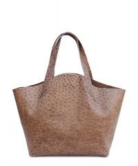 Женская кожаная сумка Poolparty fiore-struzzo-beige бежевая