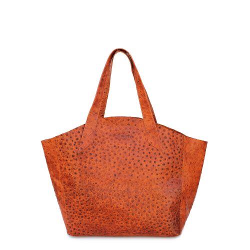 Женская кожаная сумка Poolparty fiore-struzzo-orange рыжая