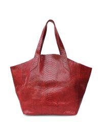 Женская кожаная сумка Poolparty fiore-red-snake красная