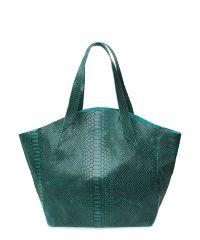 Женская кожаная сумка Poolparty fiore-green-snake зеленая