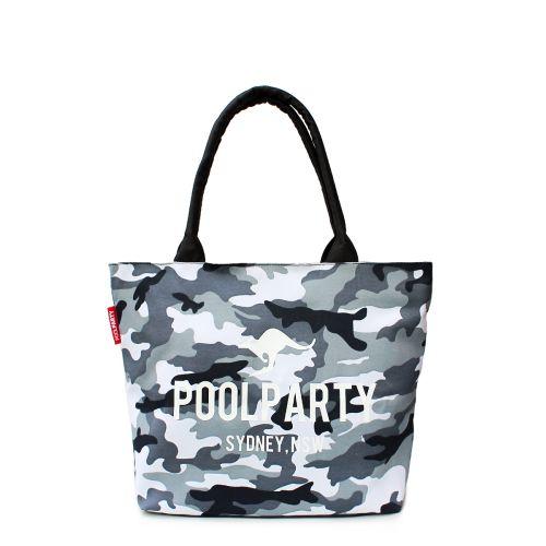 Женская сумка Poolparty Classic Cotton Tote серый камуфляж