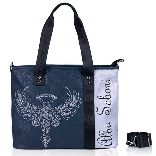 Женская сумка Alba Soboni А 141490 синяя с серебристым