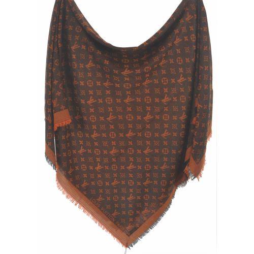 Шаль Louis Vuitton Denim Shawl оранжевая с черным