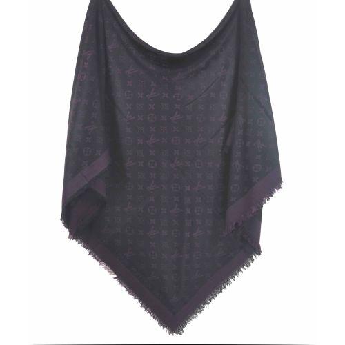 Шаль Louis Vuitton Denim Shawl фиолетовая с черным