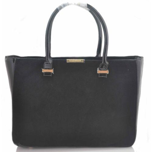Женская сумка Victoria Beckham Quincy Bag лакированная с замшей черная