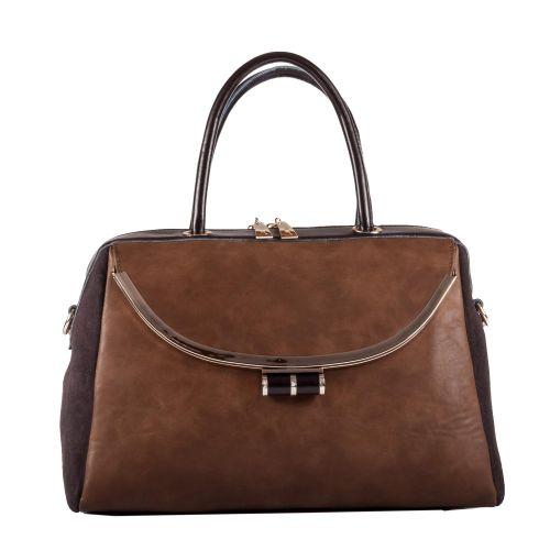 Женская сумка B1 MB007 кожаная коричневая