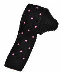 Вязаный галстук черный с розовым