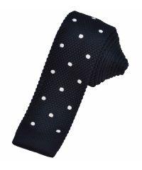 Вязаный галстук синий с белым