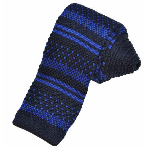 Вязаный галстук черный с синим