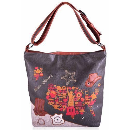 Женская сумка Alba Soboni А 130861 мешок серая с коричневым