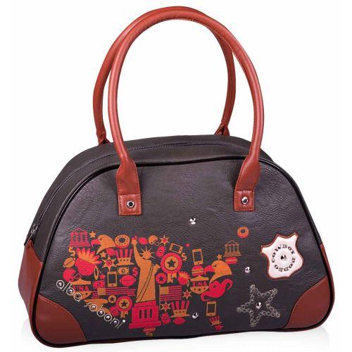 Женская сумка Alba Soboni А 130881 саквояж серая с рыжим