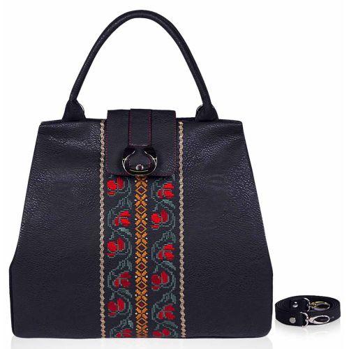 Женская сумка Alba Soboni 141331 черная с вышивкой