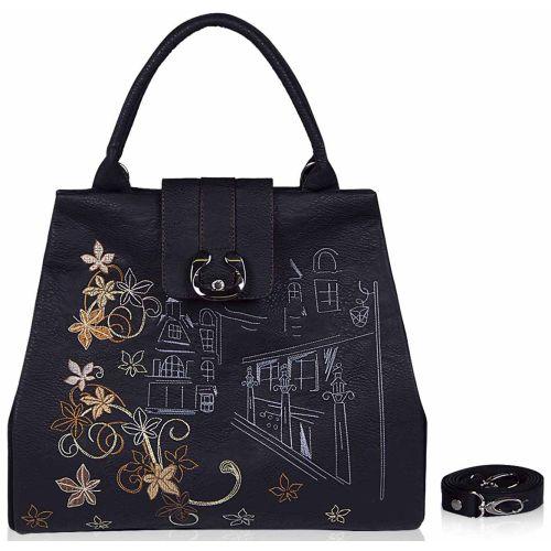 Женская сумка Alba Soboni 141333 черная с вышивкой