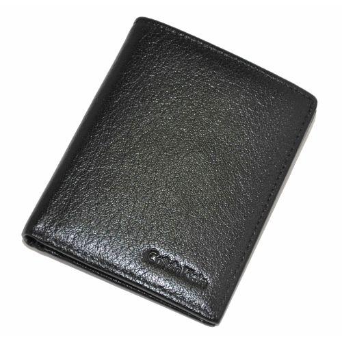Мужской кошелек Calvin Klein гладкий 2 черный