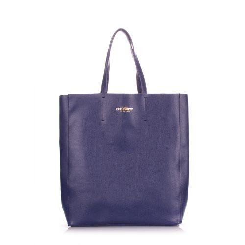 Женская кожаная сумка Poolparty city-safyan-blue синяя
