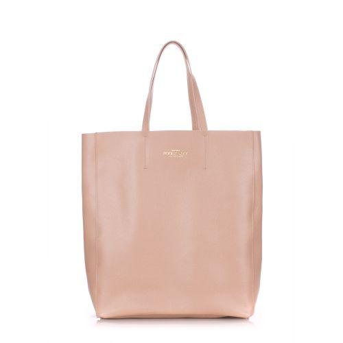 Женская кожаная сумка Poolparty city-safyan-beige бежевая