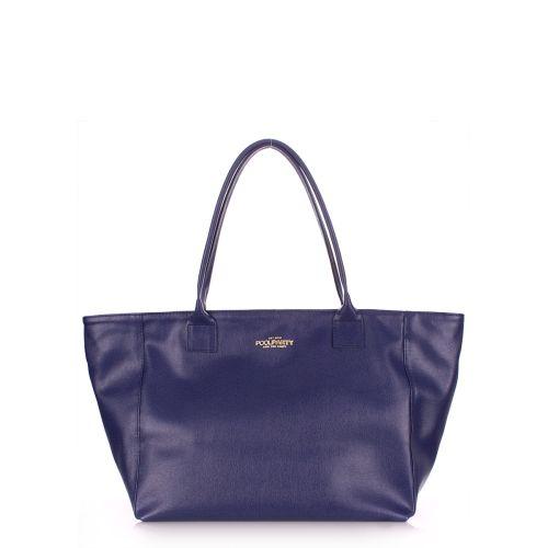 Женская кожаная сумка Poolparty desire-safyan-blue синяя