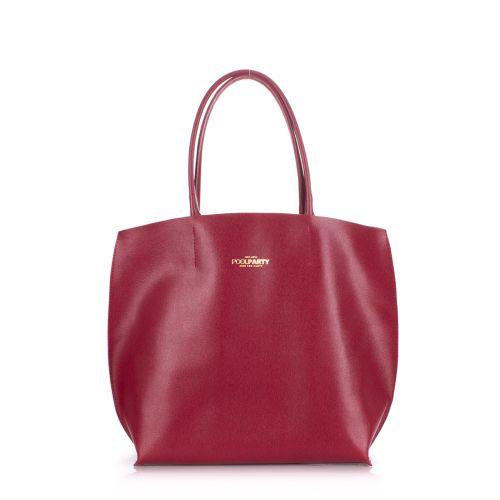 Женская кожаная сумка Poolparty pearl-scarlet вишневая