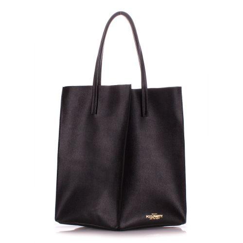 Женская кожаная сумка poolparty-milan-safyan-black черная