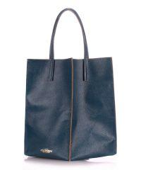 Женская кожаная сумка Poolparty milan-ranch-blue синяя