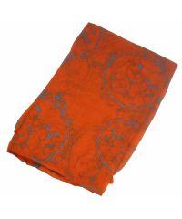 Шелковый шарф H круг оранжевый