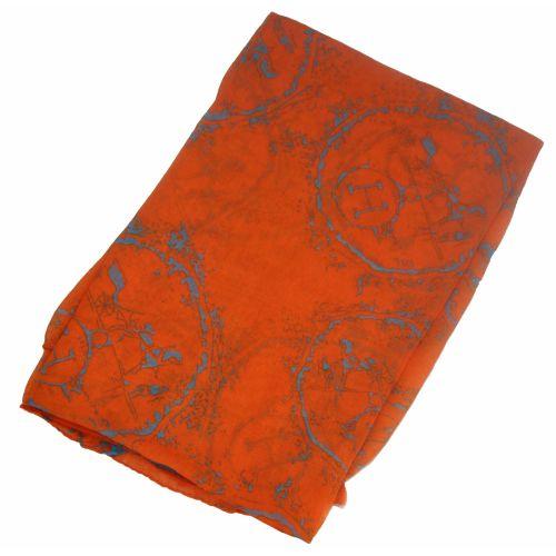 Шелковый шарф Hermes круг оранжевый