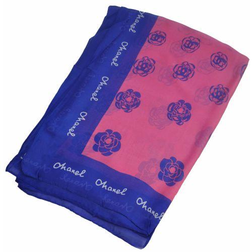 Шелковый шарф Chanel розы малиновый