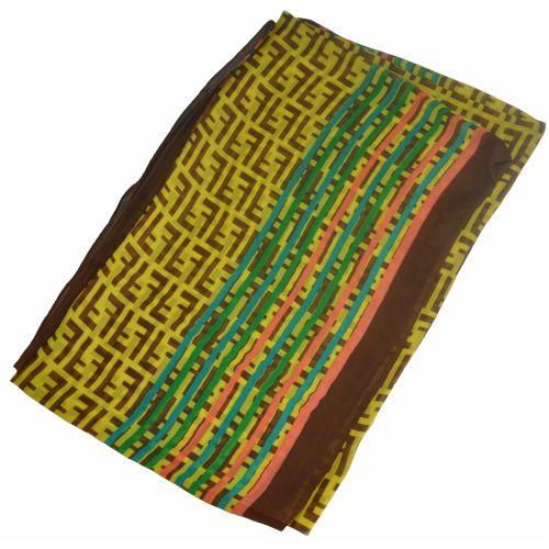 Шелковый шарф Fendi радуга желтый