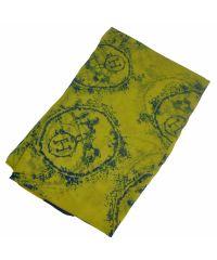 Шелковый шарф H круг желтый