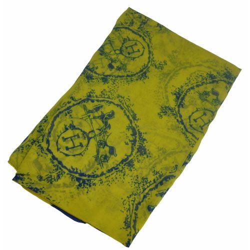 Шелковый шарф Hermes круг желтый