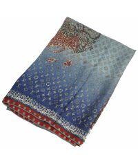 Шелковый шарф карта синий